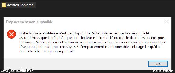Windows: renommer un dossier ou fichier dont le nom finit par un point